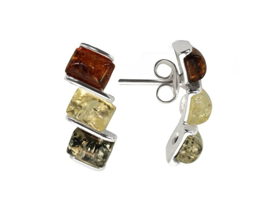 Sterling Silver and Mixed Amber Earrings