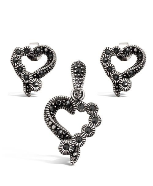 Sterling Silver and Marcasite Heart Jewelry Set