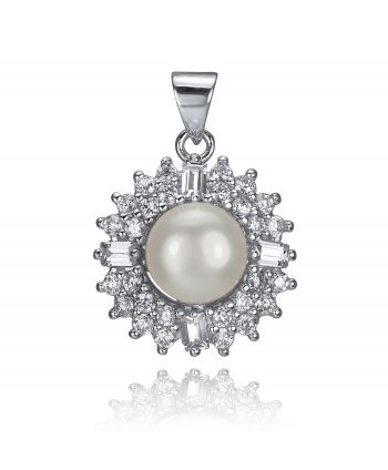 Sterling Silver- Cubic Zirconia and Faux Pearl Pendant