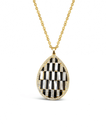 Crystal Checkered Statement Necklace