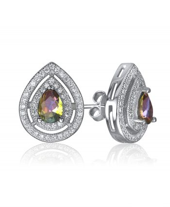 Micro Pave and Mystic Topaz Teardrop Stud Earrings - 671350