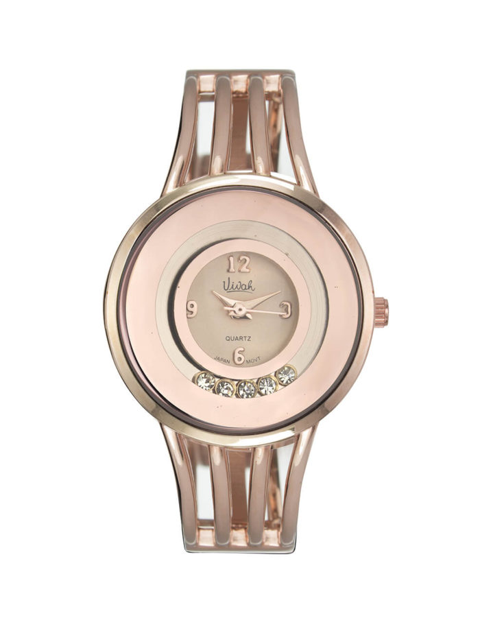Rose Gold Floating Crystal Watch 1