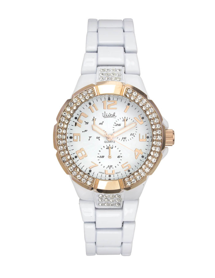 White & Rose Gold Crystal Watch 1