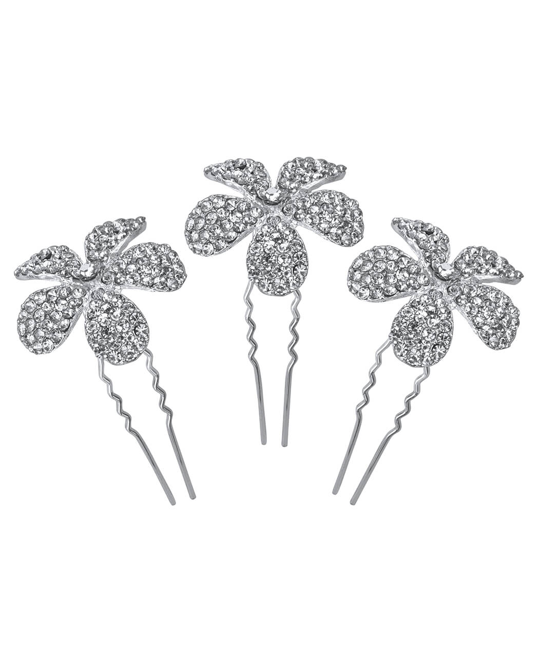 Crystal Flower Hair Pin - 3 pcs