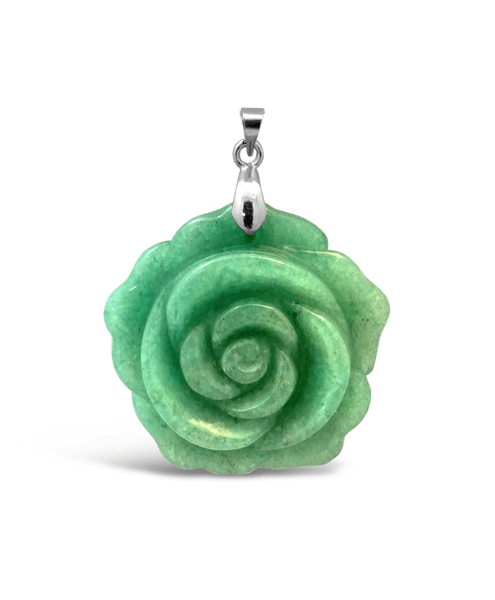 Green Jade Rose Pendant