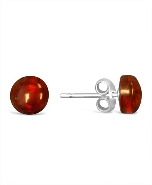 Sterling Silver and Amber Stud Earrings