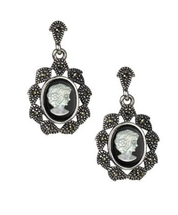 Marcasite and Mother of Pearl Cameo Earrings