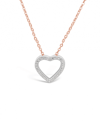 Sterling Silver and Rose Gold Heart Necklace