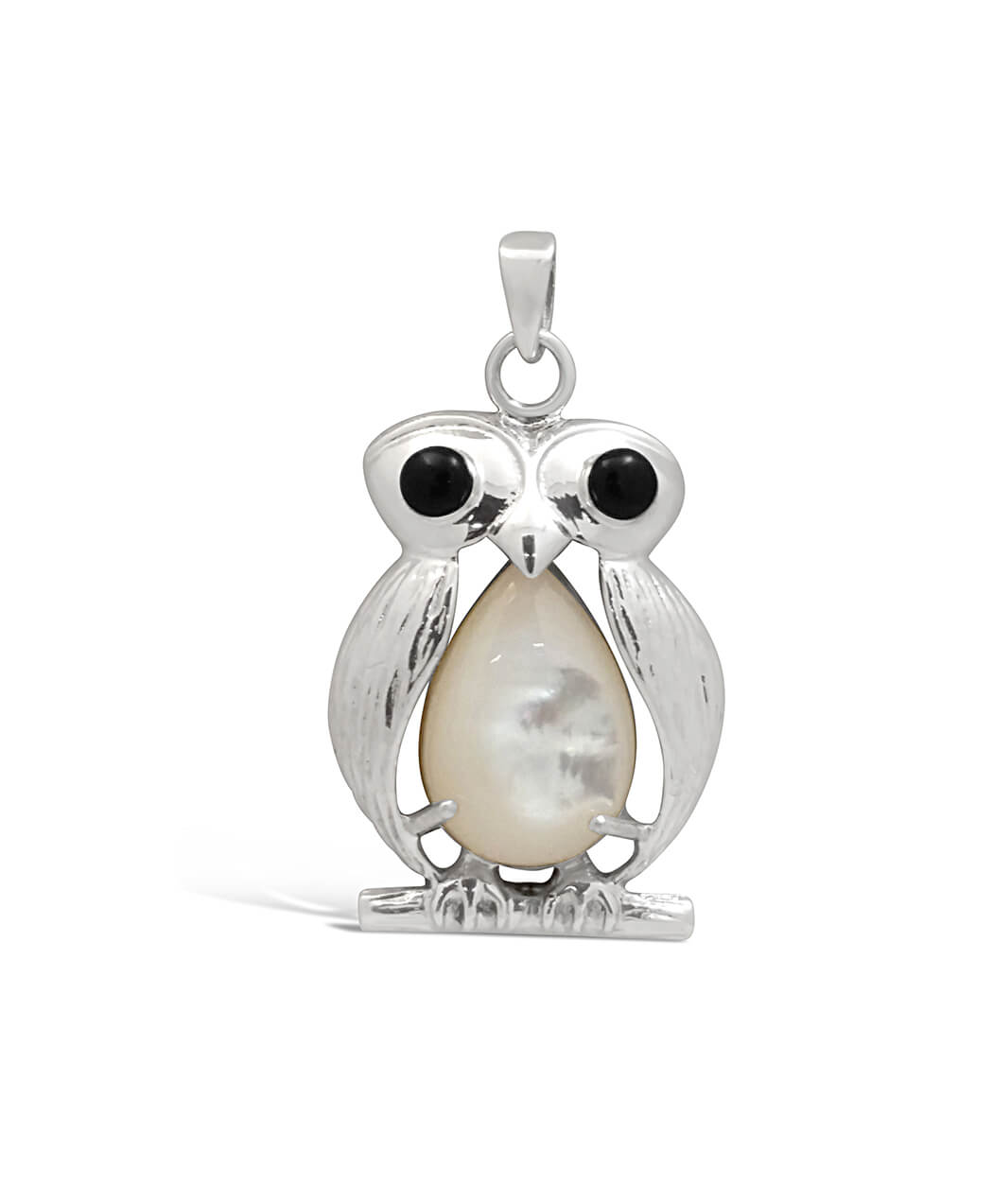 Sterling Silver and Mother of Pearl Owl Pendant