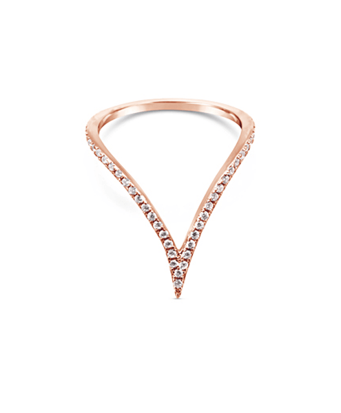 Sterling Silver and Rose Gold V Ring