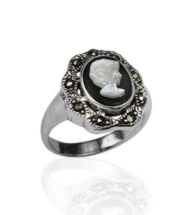 Marcasite and Mother of Pearl Cameo Ring