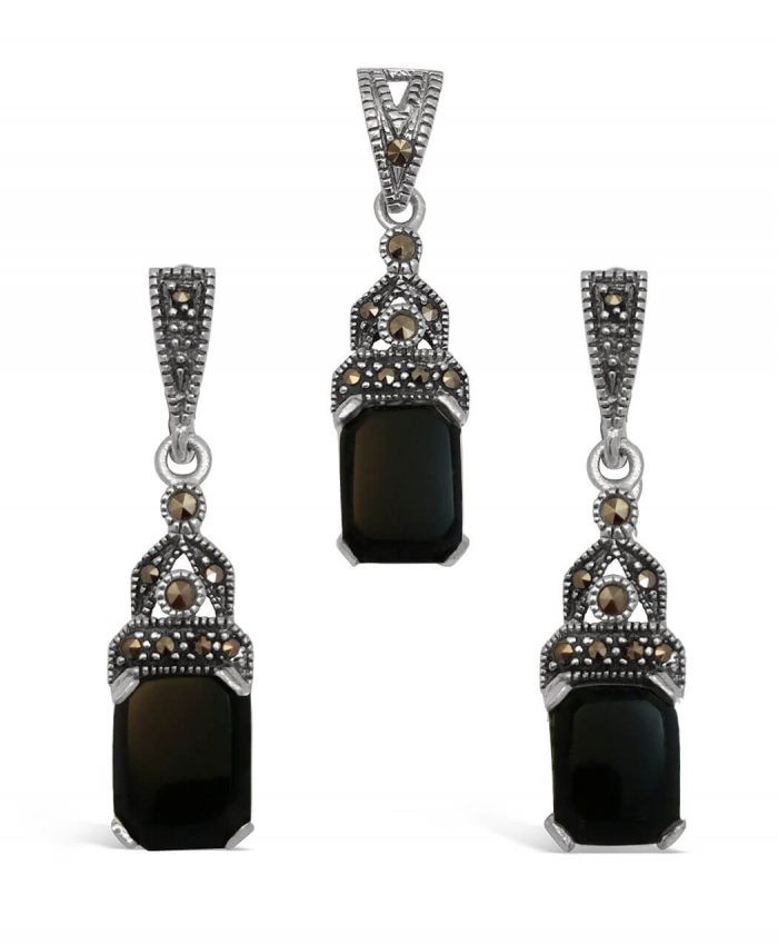 Marcasite and Black Onyx Set
