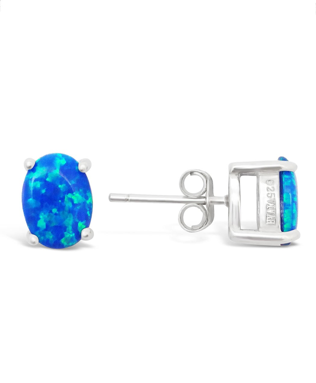 Opal and Sterling Silver Studs