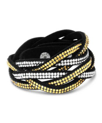 Gold Crystal Twisted Wrap Bracelet