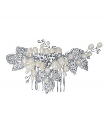 Floral and Leaf Crystal and Freshwater Pearl Comb