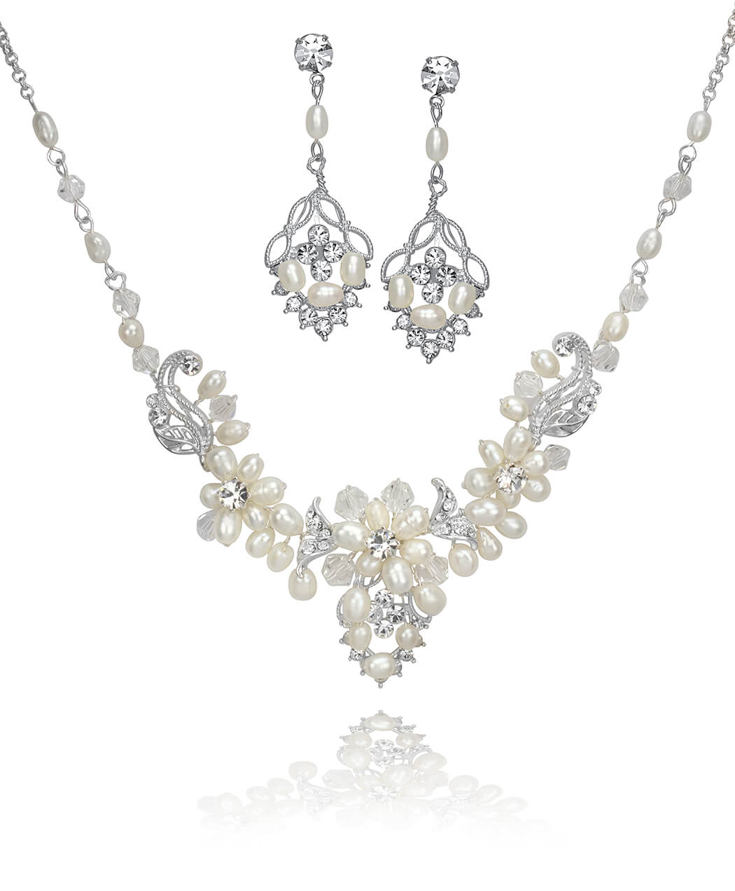 Freshwater Pearl and Crystal Cluster Set