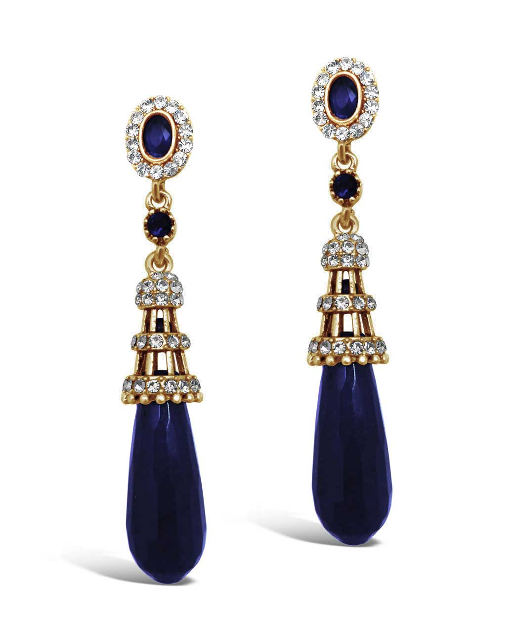 Ottoman Drop Earrings (Midnight Blue)