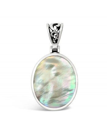 Mother of Pearl & Pink Shell Sterling Silver Pendant (Double Sided)