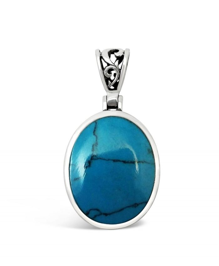 Turquoise and Oxdized Silver Pendant