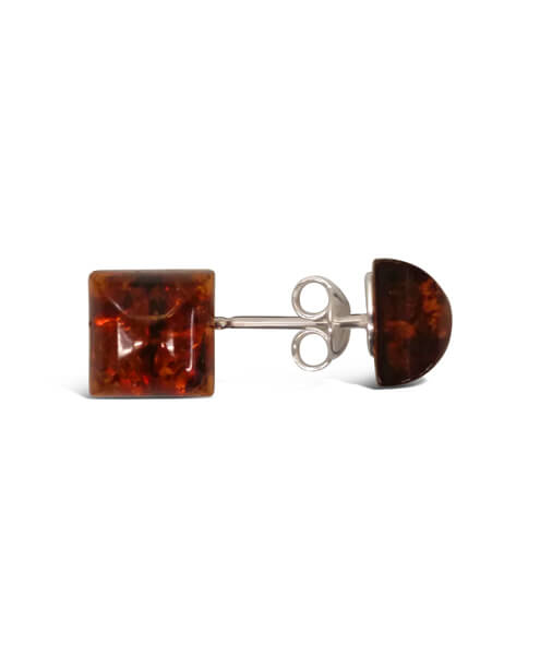 Square Cut Sterling Silver & Amber Stud Earrings