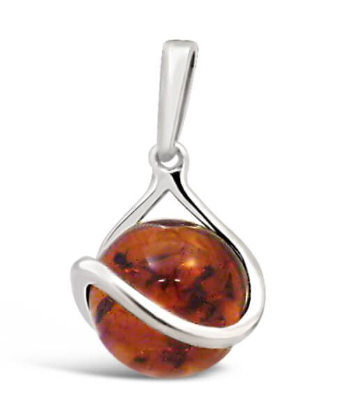 Faceted Round Amber Pendant