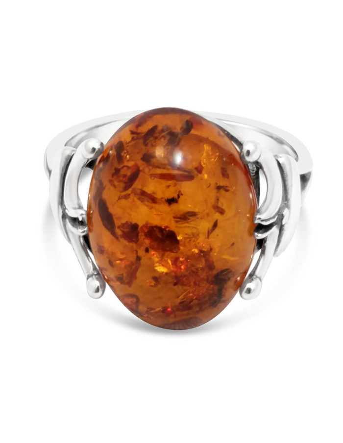 Sterling Silver & Amber Ring 1
