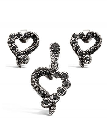 Sterling Silver & Marcasite Heart Set