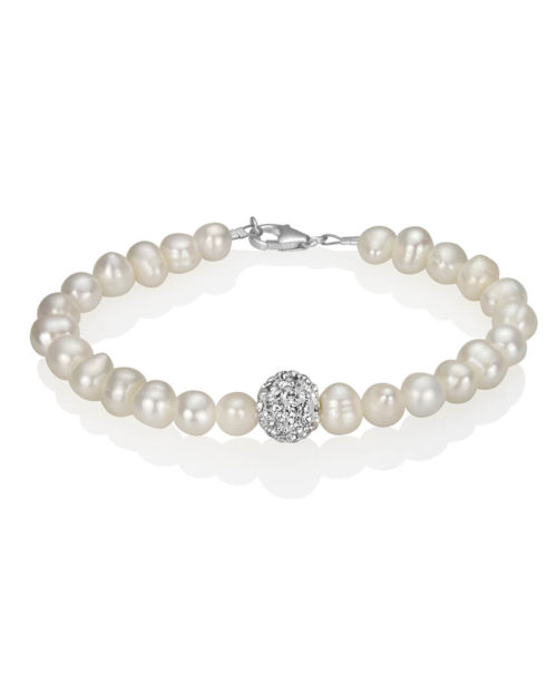 Freshwater Pearl and Crystal Pavé Bracelet