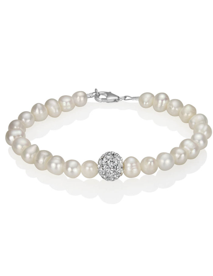 Freshwater Pearl and Crystal Pavé Bracelet 1