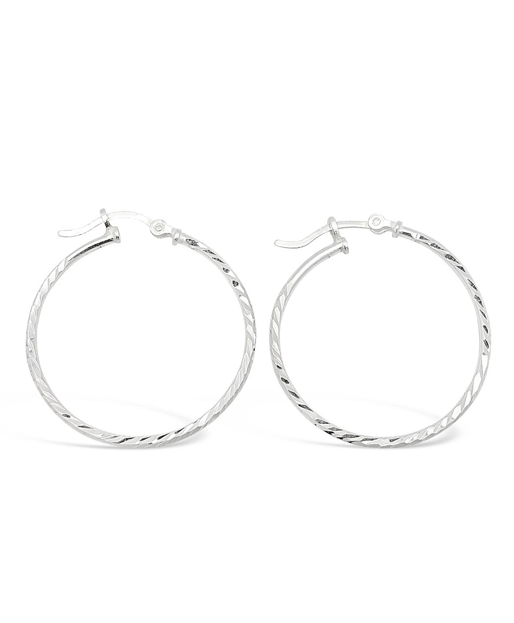 Hammered Sterling Silver Hoop Earrings 1