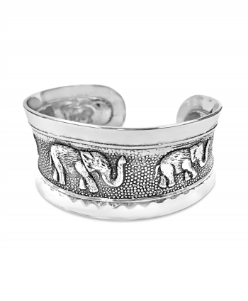 Silver Plated Elephant Cuff Bracelet