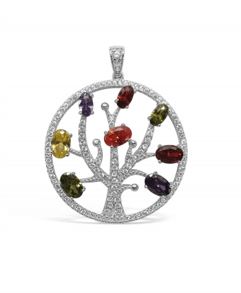 Multi colour CZ Tree of Life Pendant