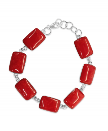 Sterling Silver -Apple Coral Rectangle Bracelet
