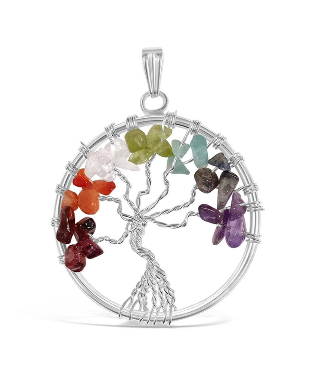 Silver tree of life pendant with mixed stones