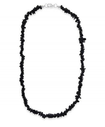 black tourmaline chip bead necklace