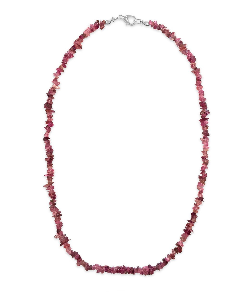Red Hued Rubellite Chip Bead Necklace