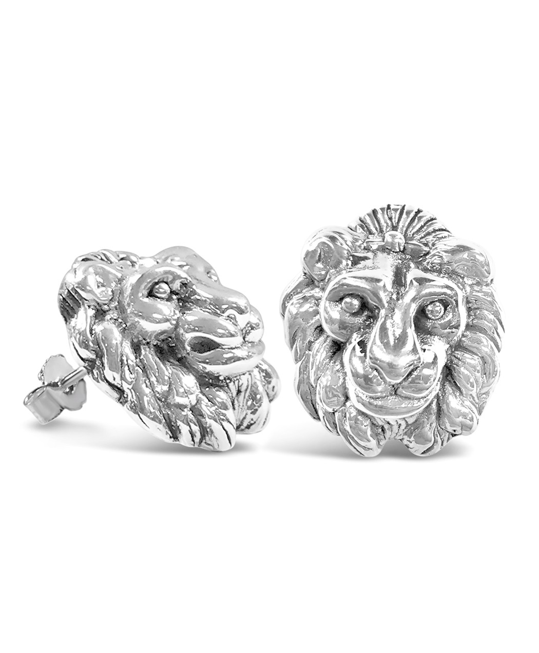 Lion head Sterling Silver Electroform 3D Earrings