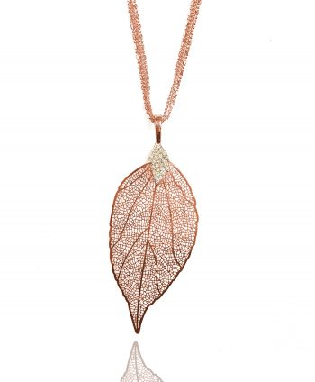 Crystal Jewelry - Rose Gold Plate Crystal Leaf Necklace | Vivah Jewellery