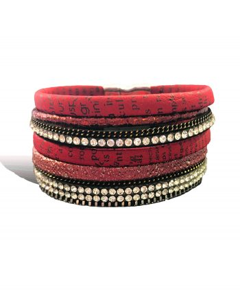 fashion jewelry- red crystal wrap bracelet - vivah jewellery