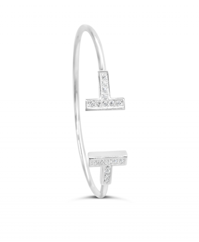 "Silver Plate Crystal ""T"" Cuff"