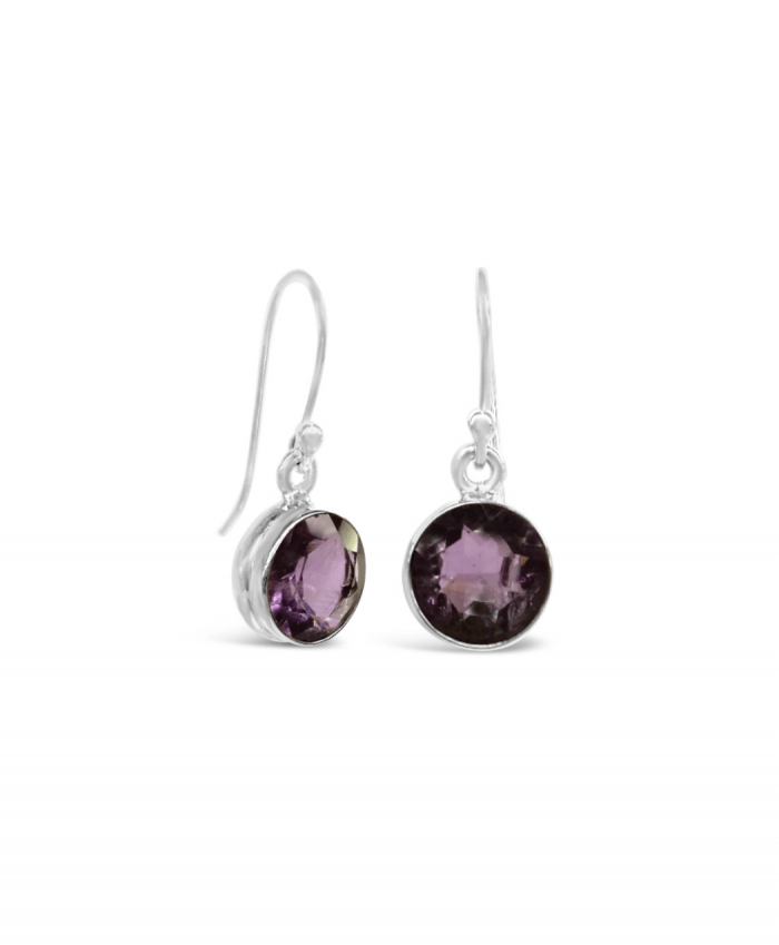Genuine Round Amethyst Earrings