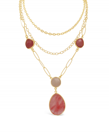 3 Tier Gold Plate Cherry Quartz Necklace