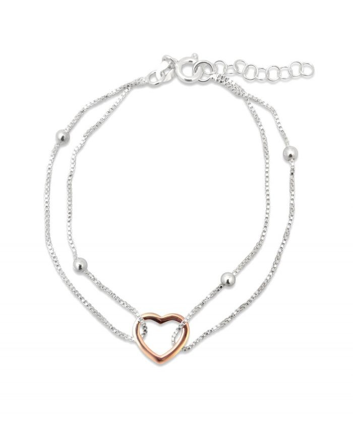 Sterling Silver & Rose Gold Plate Heart Bracelet
