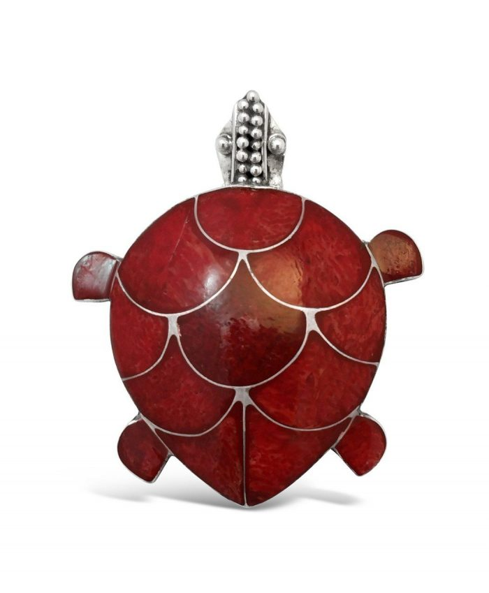 Apple Coral Turtle Pin & Pendant (2-in-1)