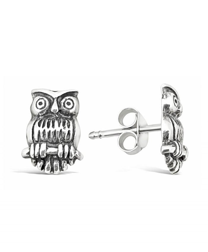Oxidized Sterling Silver Owl Studs