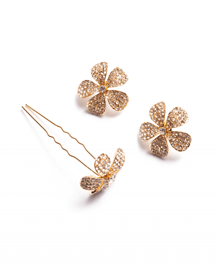 Gold Plated Crystal Hair Pin (Pack of 3) -222502