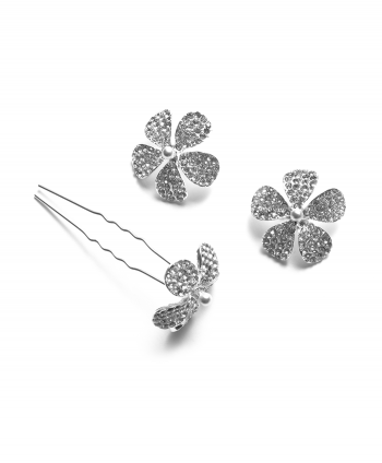 Silver Plated With Crystal Hair Pins (Pack 0f 3) -222529