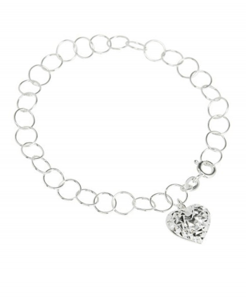 Silver Plated Heart Charm Bracelet - 192650