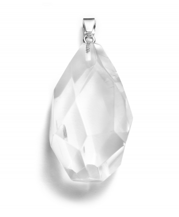 Quartz Crystal Cut Tear drop Pendant - 570131