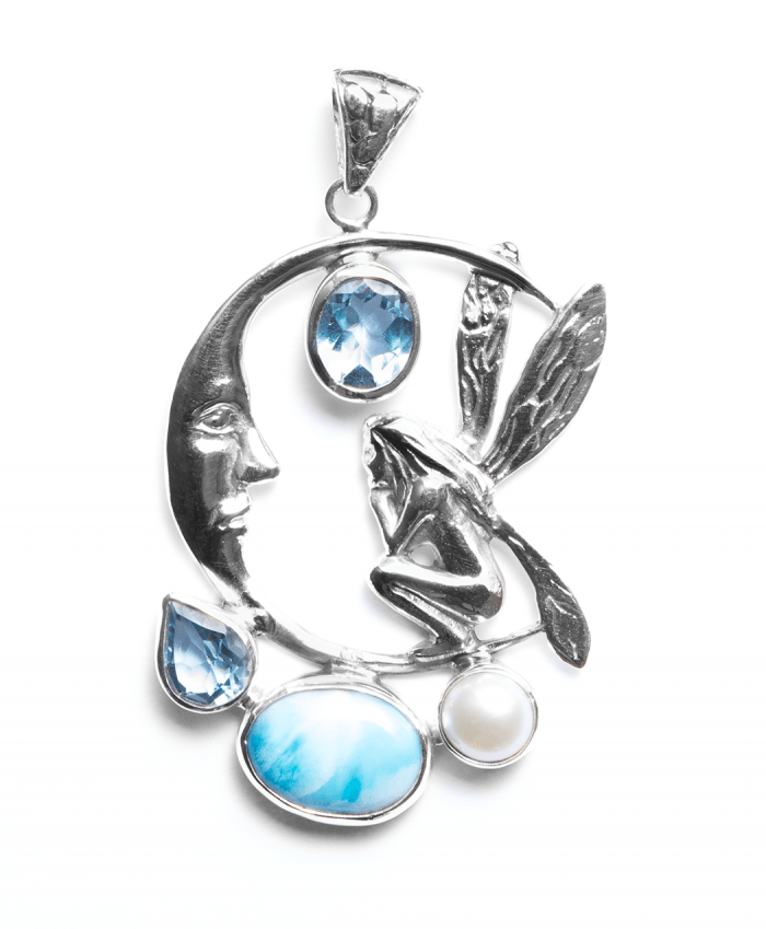Angel On Moon Larimar Blue Topaz Pendant - 638299